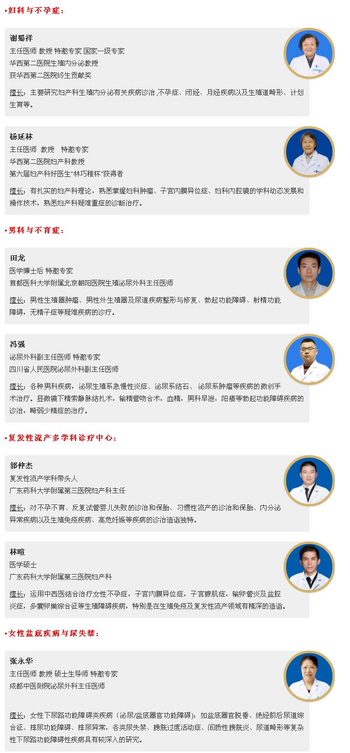 四川省生殖专科医院专家